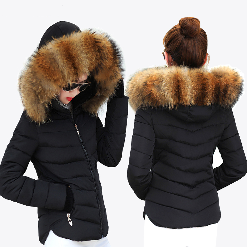 Female Warm Winter Jacket Fashion Women Hooded Fur collar Down Cotton Coat Solid color Slim Large size Female Coat