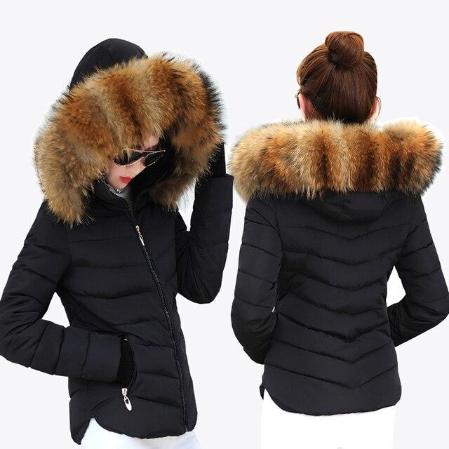 נקבה חם חורף מעיל 2019 אופנה נשים ברדס פרווה צווארון למטה כותנה מעיל מוצק צבע Slim גדול גודל נשי מעיל