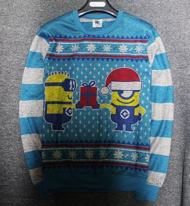 Blue Winter Sweater Men Christmas Autumn Cartoon Anime Thin Sweater Sweatshirt Big Size Little Yellow Man Large Chest 108-170cm