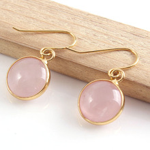 XSM New Stylish 18K Gold Plated Rose Quartz Cabochon Dangle Earrings For Women Fashion Jewelry stylish gold plated filigree pumpkin car hairband for women