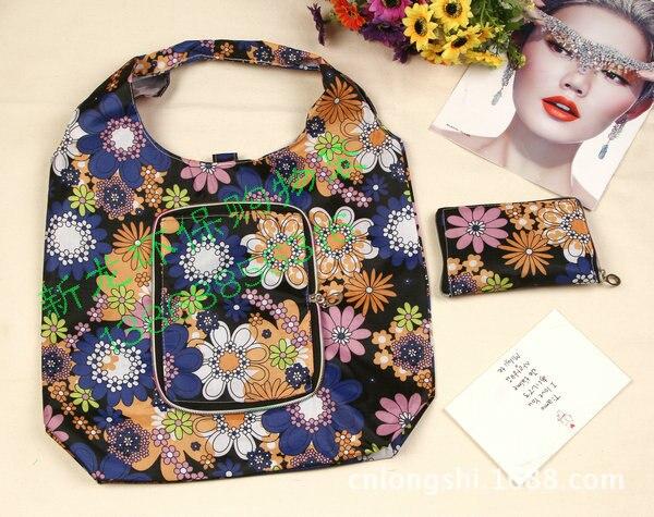 Bolsa com Zipper Lote Alta Qualidade Flor Impresso Reutilizável Nylon Dobrável Shopping 100 Pçs –