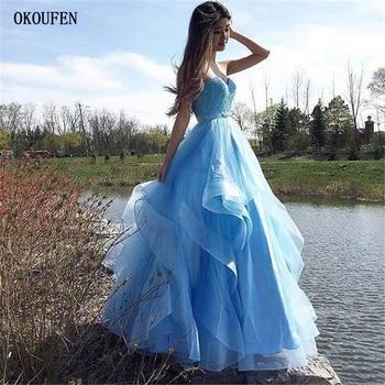 Blue Prom Dresses 2019 Tulle Tiered Sexy Ball Party Gowns Sweetheart vestidos de fiesta robe de soiree gala jurken Custom Make