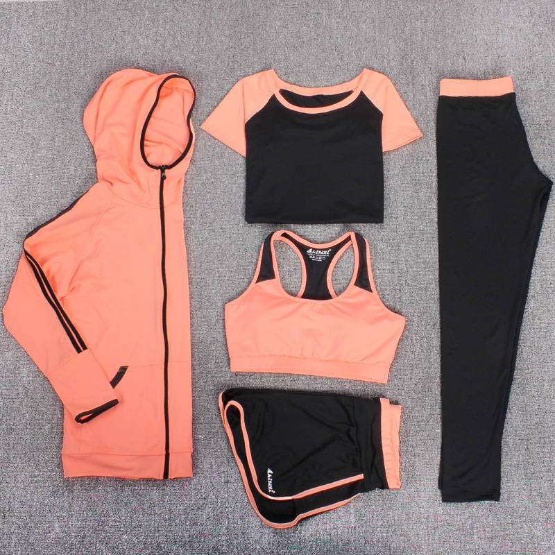 2017 Top Quality Fitness Women 6 Pieces Yoga Set Sport Bra & T-shirt & Hoodies &Pants Gym Clothes Sport Wear Running Outdoor Jog 2018 new bright gym clothes colors solid and patchwork female summer yoga suit t shirt bra leggings 3 pieces yoga set for women