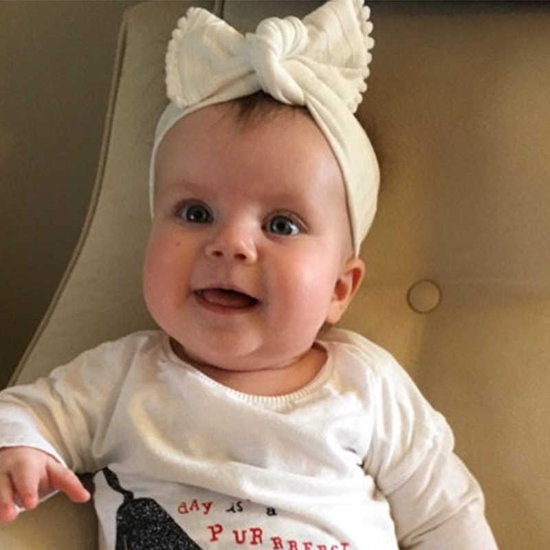 כותנה טורבן בגימור ילדים השפעה צבע באני אוזן למעלה Bow חם גומייה לשיער תינוק רך כיסוי ראש שיער קשת לבן תחרה כדור ראש להקה