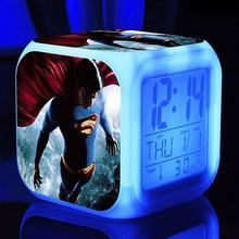 Superhero Superman Alarm Clocks,Science fiction film Superman Alarm Clocks kids Gift Color changing Multifunction alarm clocks