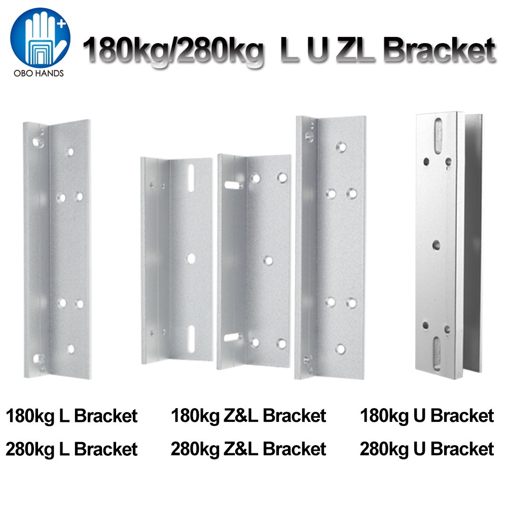 L/U/ZL Shape Lock Bracket 180KG/280KG Electric Magnetic Lock Holder for Frameless Glass Door Access Control System Accessories x6 rfid door entry system 180kg magnetic lock and u bracket for glass door