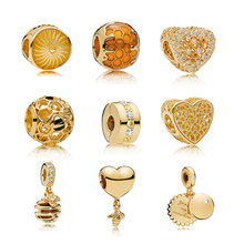 2018 new glod honeybee Collection of mixed cilp Bead Fit Women pandora charms alloy original Bracelet & Bangle DIY Jewelry P027(China)