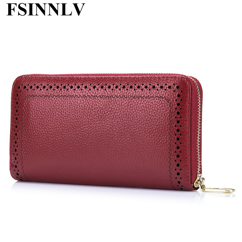 FSINNLV New Genuine Leather Wallet for Women Lady Long Wallets Women Purse Female Women Wallet Card Holder Day Clutch DC156 yuanyu new hot free shipping card bag real thailand crocodile leather long wallet female fashion women day clutche purse
