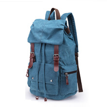 Retro Preppy Style Practical Backpack Fashion Belt Buckle Drawstring Washed Canvas Travel Bag Women Men Waterproof School Bag
