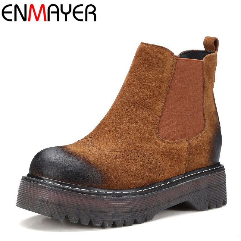 ENMAYER Ankle Boots for Women Round Toe Slip-on Flats Shoes Woman Size 34-39 Classic Black Platform Shoes Autumn & Winter Boots enmayer pointed toe summer shallow flats slip on luxury brand shoes women plus size 35 46 beige black flats shoe womens