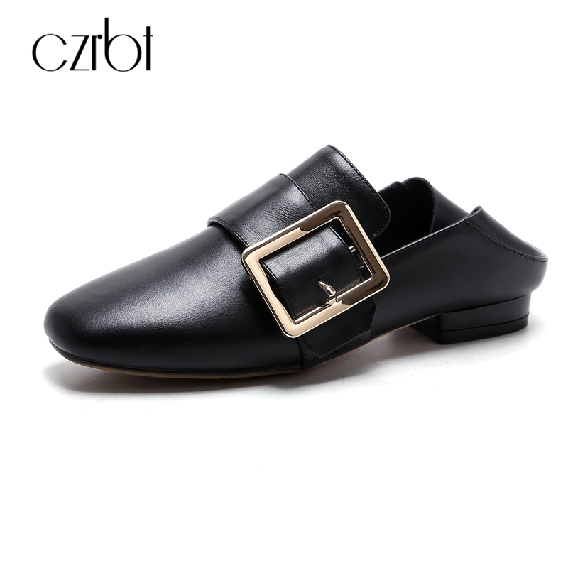 CZRBT Women Genuine Leather Flats Spring Autumn Fashion Square Buckle Loafers Woman Black White Shallow Mouth Casual F Shoes lovexss genuine leather white flats lace up woman girl student shoes 2017 spring autumn loafers shallow crystal flats