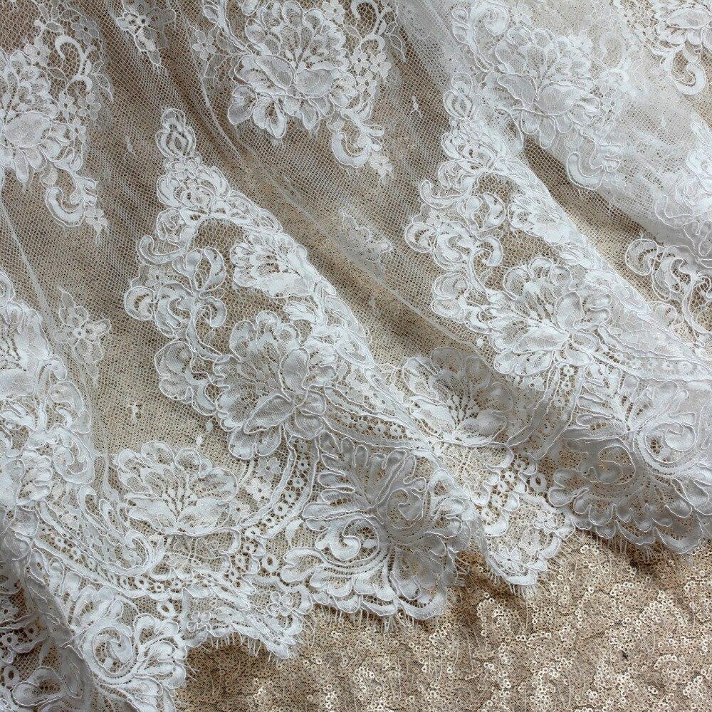 150 cm * 3 yard door stuk goede kwaliteit off white Venetië koord geborduurde Franse wimper bruids kant stof - 4