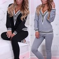 2016 Hot New Autumn Long Sleeve Cotton Casual Women Suits Female Girl V Neck Patchwork Tracksuit Blouse+Pants H1