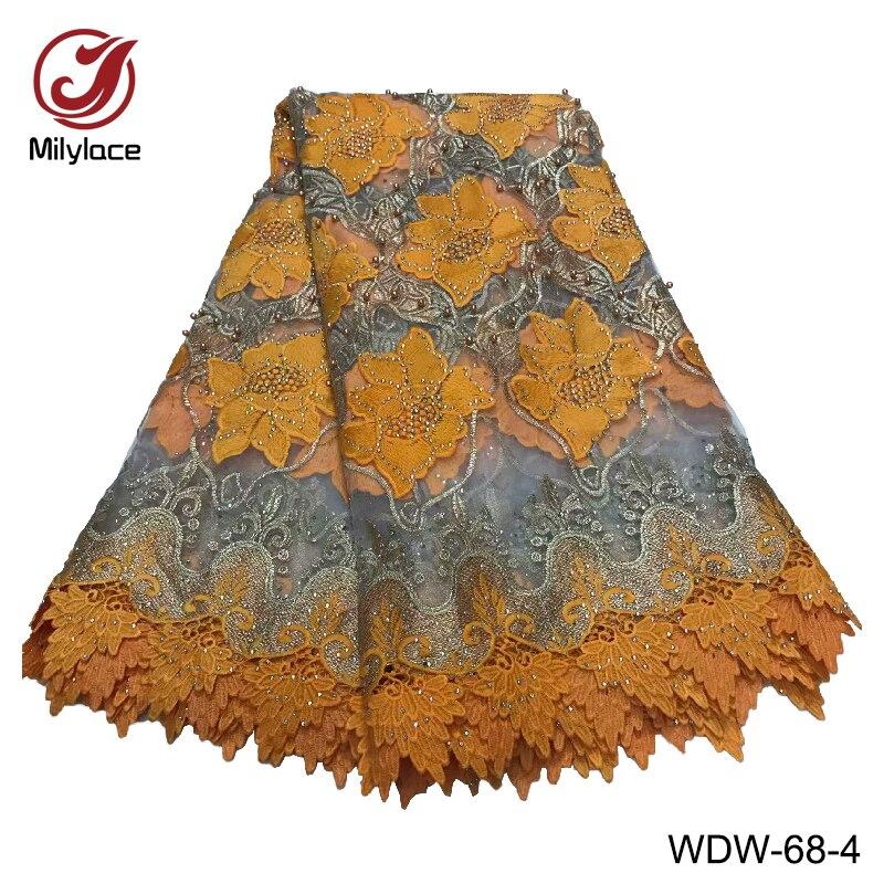 Tissu de dentelle africaine de haute qualité avec strass deux couleurs mélangé tulle français net dentelle tissu pour les vêtements des femmes WDW 68-in Dentelle from Maison & Animalerie    1
