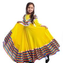 Mexican Dress Birthday Party Halloween Costume Kids Child Mexico Big Circle Long Gypsy Flamenco Dance Skirt