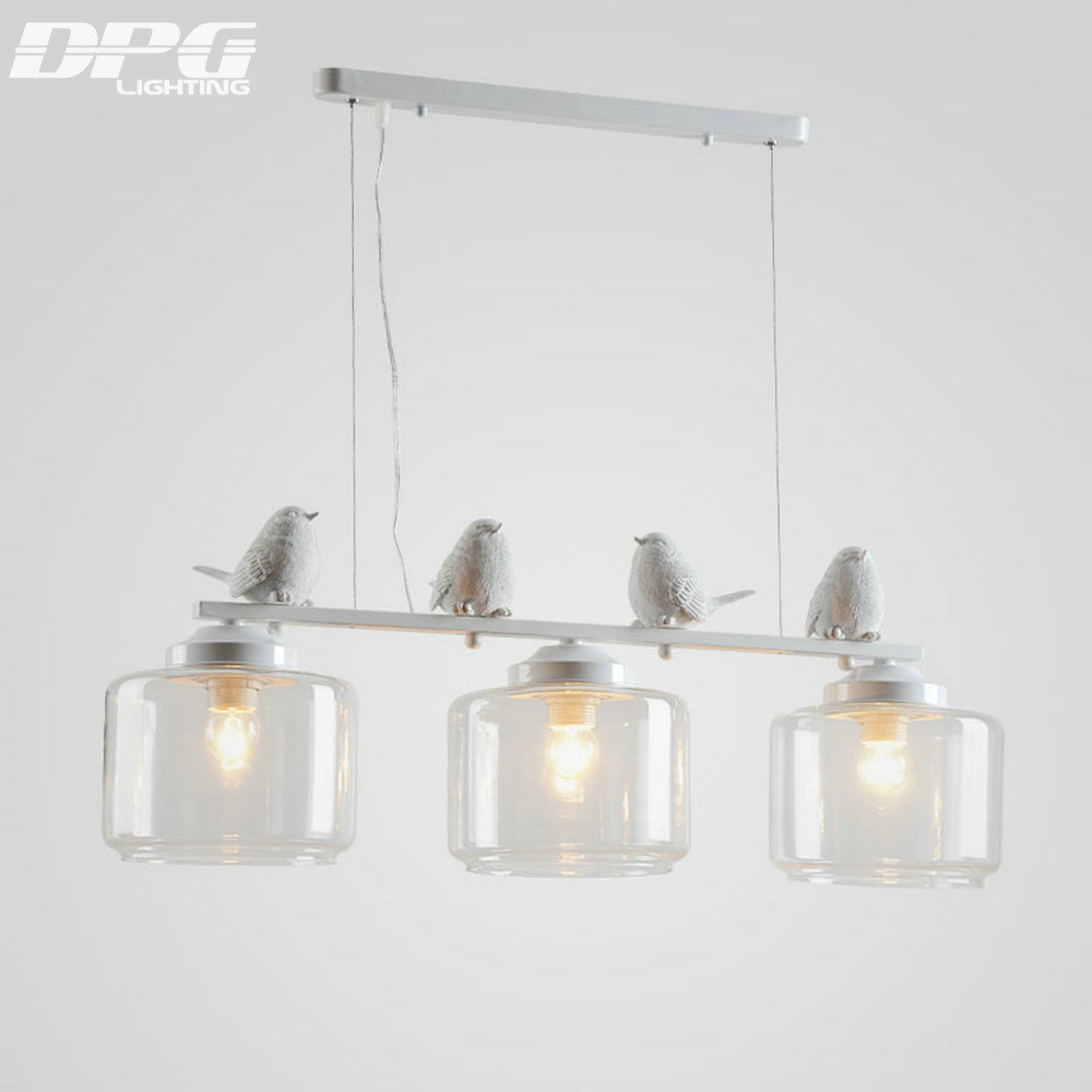 Modern LED Bird White Iron Kitchen light fixture Hanging lamp with Glass Lampshades hanglamp E27 110v 220v for Dinning Room