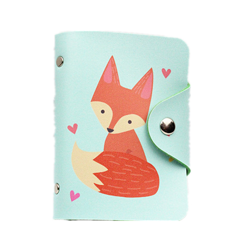 M137 Lovely Card ID Holders Cartoon Pu Leather 24 Card Red Fox Cute Tail Cat Women ID Credit Bank Cards Bag Wholesale qubiclife 3d hollow stereo card manual creative wardrobe trend cards wholesale
