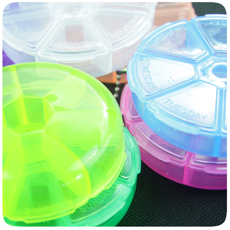 Portable Medicine Box 7 Days Weekly Pillbox Creative Rotating Pill Box Mini Plastic Storage Container Keychain Tablet Separator 6