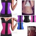 Top body shapers steel bones Waist Trainer women Cincher Rubber Waist Corset underbust Slimming Belt (Black Blue Pink )