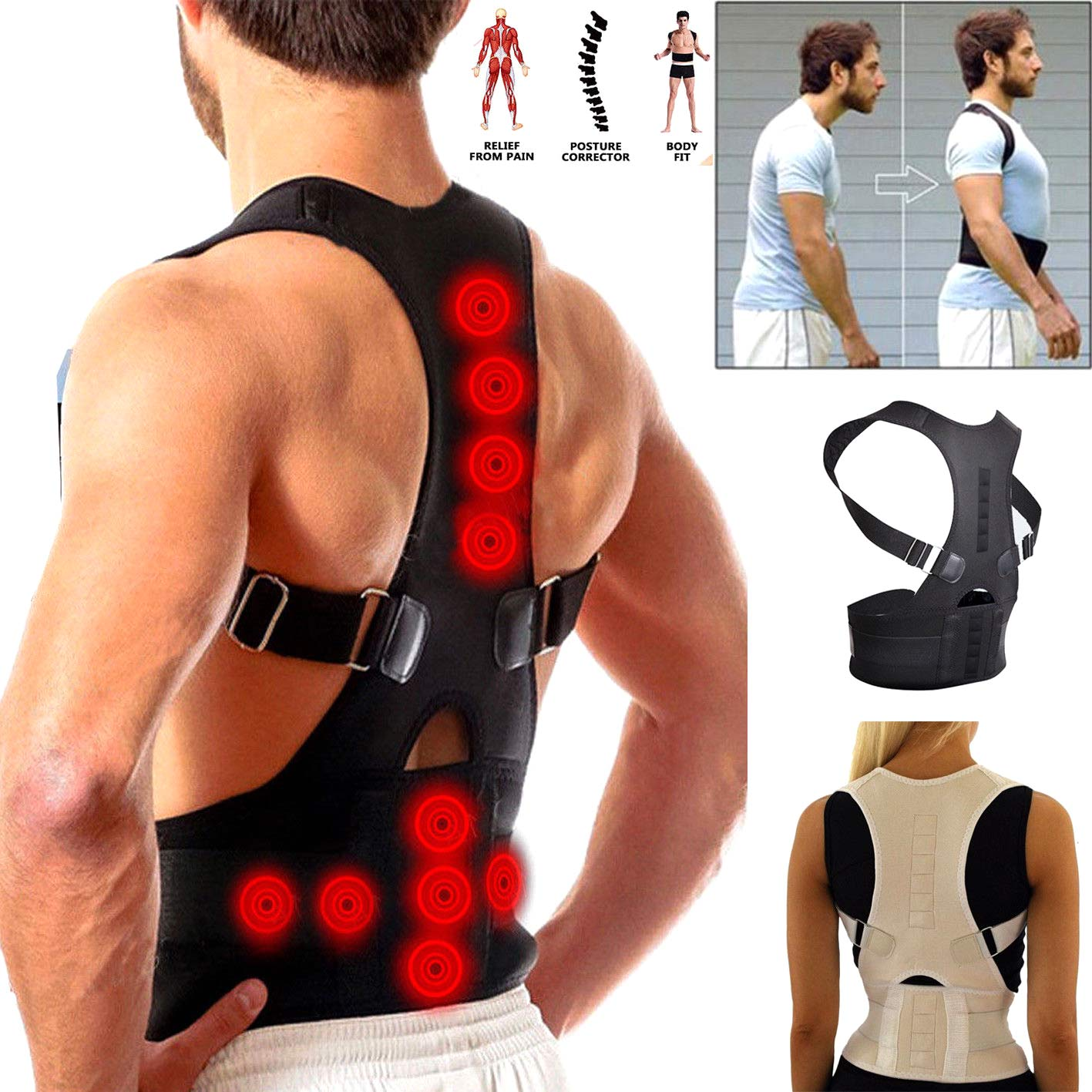 Male Female Adjustable Magnetic Posture Corrector Corset Back Brace Back Belt Lumbar Support Straight Corrector (free gift)