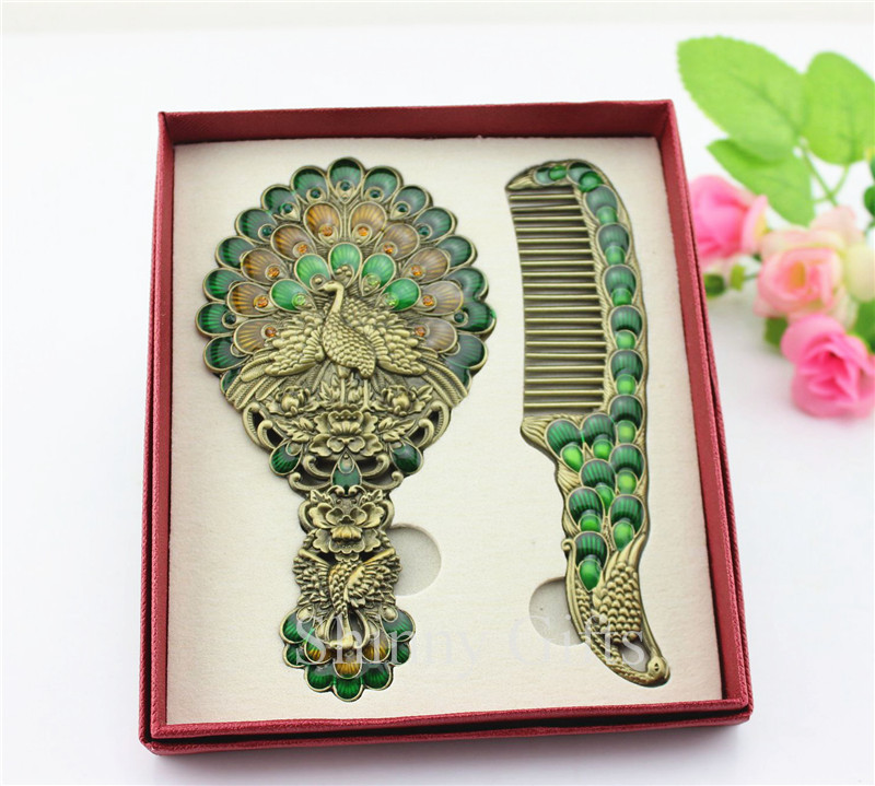 Peacock Wedding Gifts: Peacock Design Peacock Cosmetic Mirror Comb Set Wedding