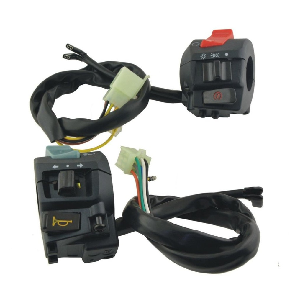 Motorcycle Handlebar Horn Turn Signal Light Control Switch with Connecting Wires Handlebar Mount On Off Switch