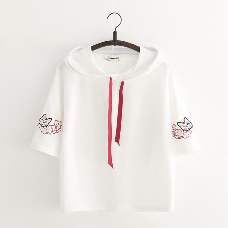Sexy shirt kurzen ärmeln schüler lose fitting cartoon design frische dünne body frauen kleidung