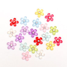 50Pcs 10x10mm Mixed Resin Flowers Cabochon Flatback Embellishments Decoration Crafts For Scrapbooking Accessories