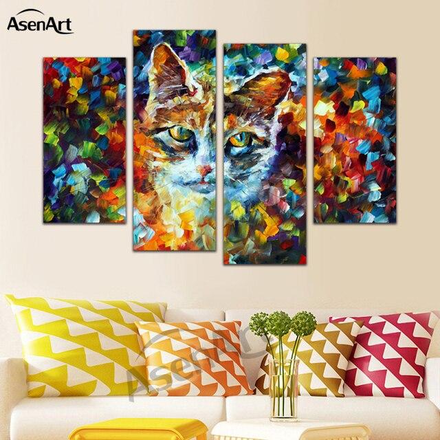 Peintures Modernes Colorées 4 panneau mural art coloré chat kitty peinture toile peinture