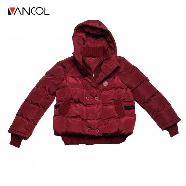 Vancol 2016 Winter Coat Female Large SizeThick Warm Hooded Jacket Coat Ladies Coat Short Style Solid Down Jacket for Women