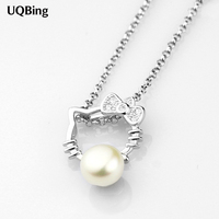 Free Shipping 925 Sterling Silver Necklace Kitty Cat Necklaces Pendant Women Necklaces Pendants Jewelry Collar Colar