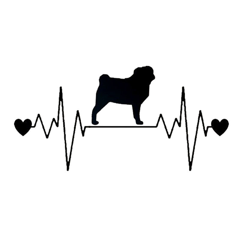 20.3*9.9CM Pug Heartbeat Lifeline Car Stickers Waterproof Vinyl Decal Car Styling Truck Decoration Black/Silver S1-0769 14cm 9cm fashion x wing star wars funny vinyl car styling decal car stickers black silver s6 3687