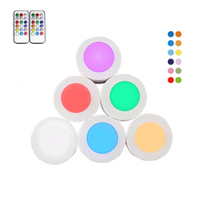 RGB 12 Colors Dimmable LED Under Cabinet Light Puck For Closet Cupboard Showcase Drawer Wardrobe Kitchen Night lamp