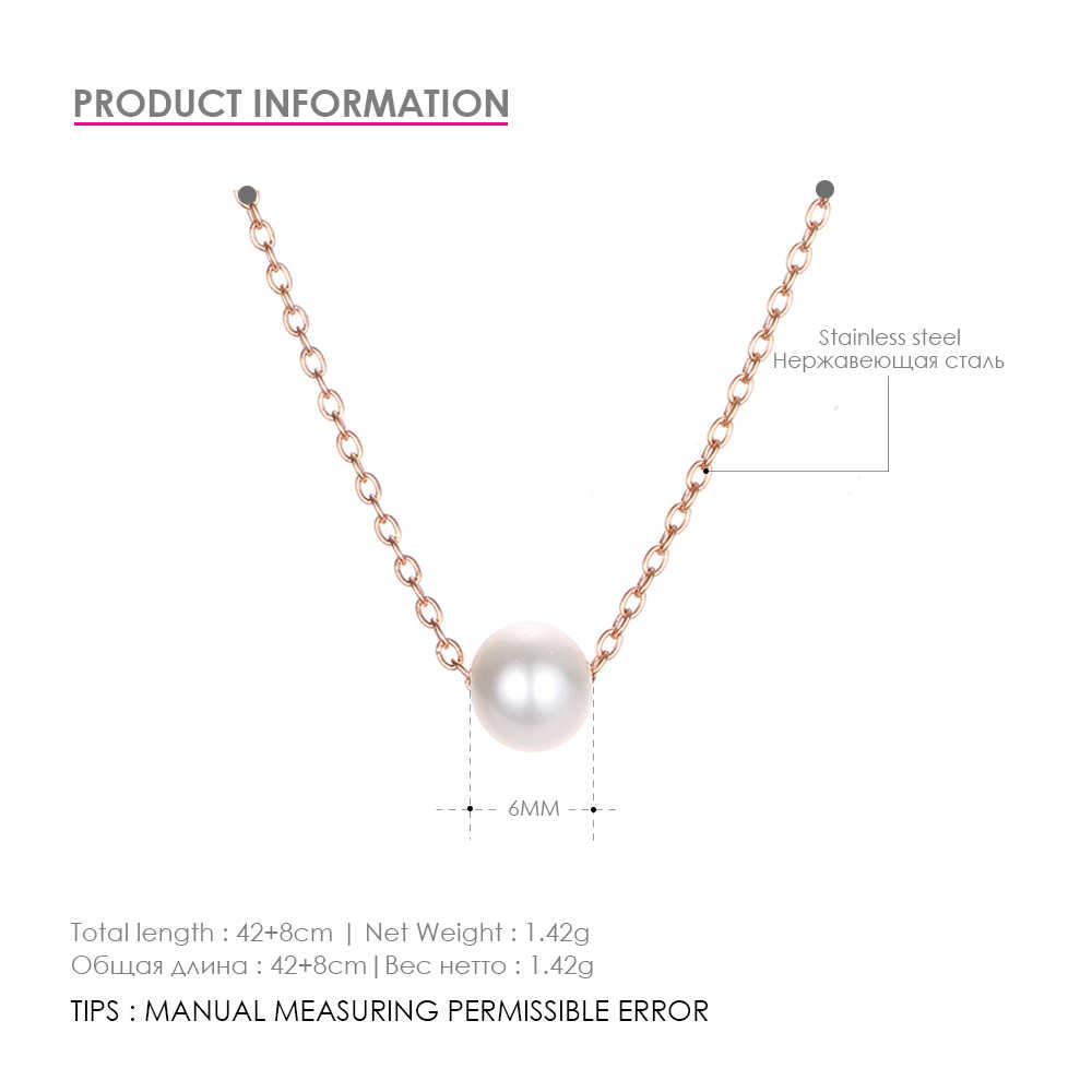 Naszyjnik ze stali nierdzewnej Fashion Square wisiorek z imitacją perły naszyjnik damski prosty łańcuszek na obojczyk naszyjniki doskonały Jewelr