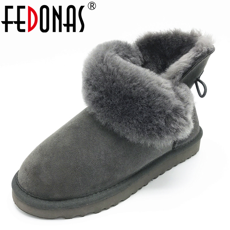FEDONAS Women Boots Classic 100% Sheepskin Ankle Snow Boots Warm Winter Sheep Fur Boots Flats Short Snow Boots for Shoes Woman xemonale 2017 new winter snow boot women shoes man made fur buckle motorcycle ankle boots warm shoes woman flats size plus e199