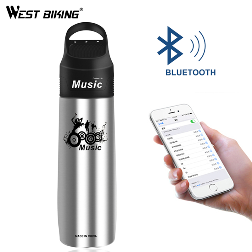 WEST BIKING Bicycle Bluetooth Bottle Cycling 750ML Bike Water Bottle With MP3 Player Music Recharge Vacuum Flask Sport Bottle west biking cycling water bottle spray riding pe double wall keep cool mtb bicycle plastic sports mountain bike water bottle