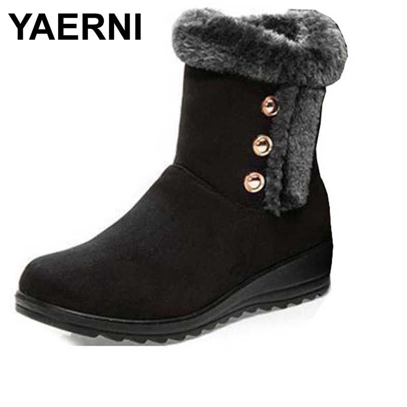 Yaerni Bottes Bouton Courts Winter Neige Classic Bailey Femmes De marron Tall Chaussures Noir rouge rZqUrtT4I