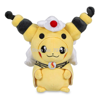 New Anime Cute Stuffed Animals 9 inches Pikachu with Mega Ampharos Hoodie Plush Kids Doll Office Soft Toys Gift