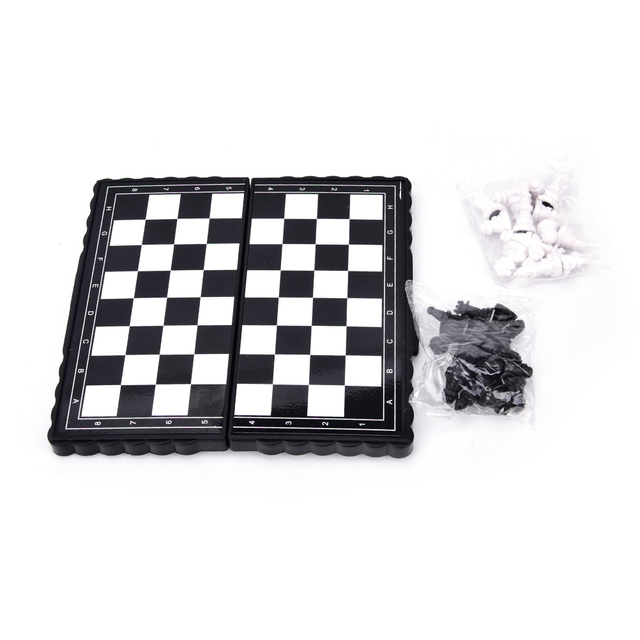 Juego de tablero de ajedrez de plástico magnético plegable portátil de viaje de 13*12,6 cm con piezas de accesorios de juegos