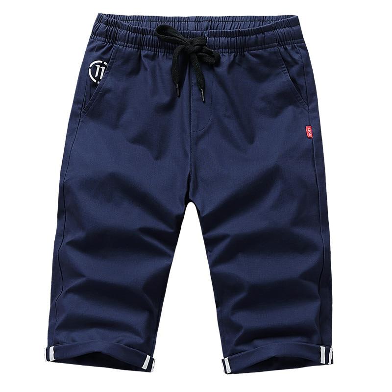 2018 black khaki New Fashion Summer Shorts Men Cotton Breathable Casual Shorts Mens Elasticity Waist Beach Shorts Male Size 4XL