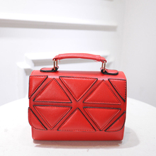 2016 New Exquisite Geometric Pattern Small Hand Bag Fashion Patchwork Cheap Plaid Bag Women Designer PU