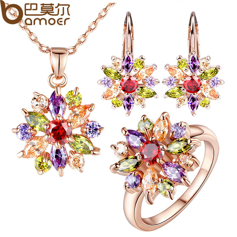 BAMOER  Rose Gold Color Jewelry Sets for Women with High Quality Multicolor AAA Zircon Wedding & Engagement Jewelry