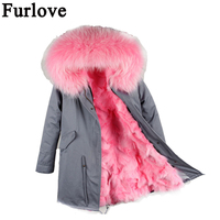 Furlove new long camouflage Parkas For Women Winter Coat big natural real fur Collar Thick Jacket Outerwear Female Snow Wear