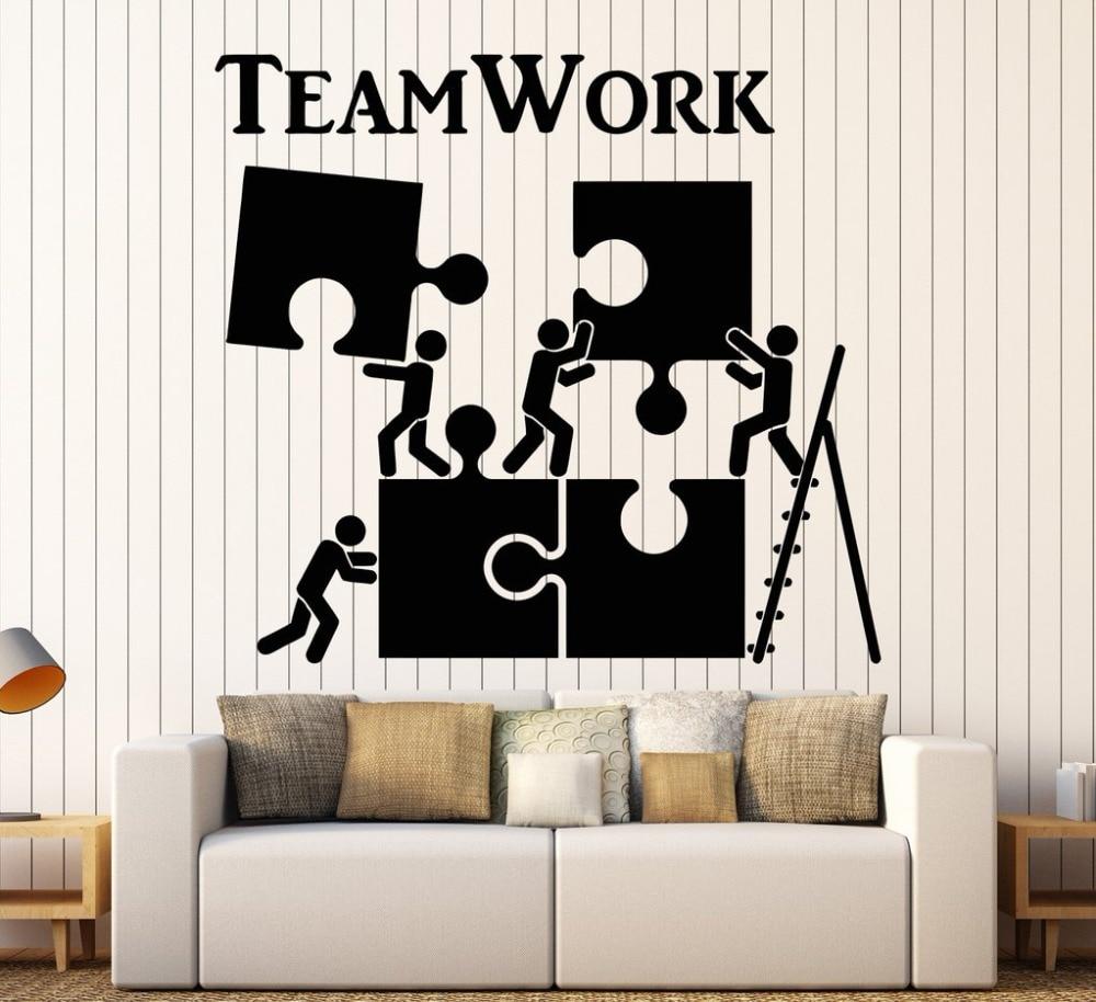 Décoration Murale Bureau Entreprise sticker mural en vinyle travail d'équipe motivation décor pour travailleur  de bureau puzzle stickers muraux art intérieur moderne décoration murale