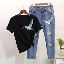 e18552b2e Primavera de 2019 mujeres lentejuelas pájaro 2 piezas conjunto de manga  corta Camiseta Tops + Casual Jeans agujero pantalones de.