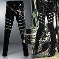 2017 Fashion Famous Brand Jean Men Zipper Punk Harlan Harajuku Holes Waist Chain Biker Skinny Ripped Jean For Men Denim Trousers