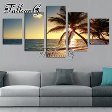 FULLCANG Full Square Diamond Embroidery Sunset Beach Coconut Tree Seascape Diy Painting Cross Stitch Mosaic 5PCS G515