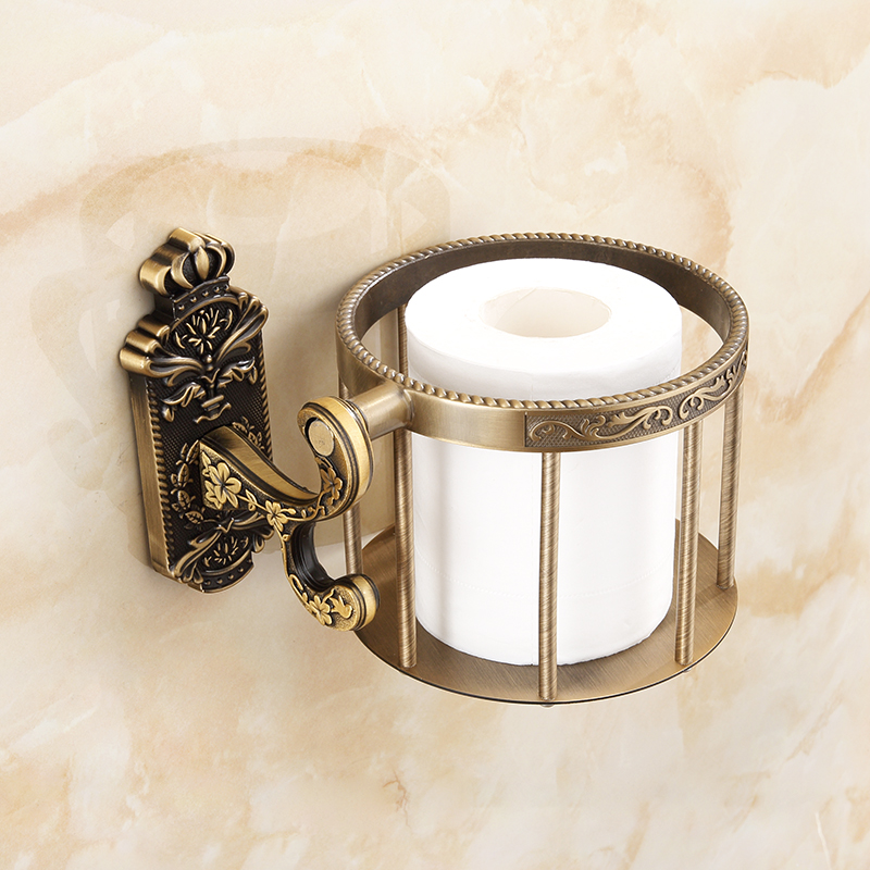 European retro antique toilet paper holder paper towel basket bathroom wall hanging thickening bathroom paper roll rack lo821331