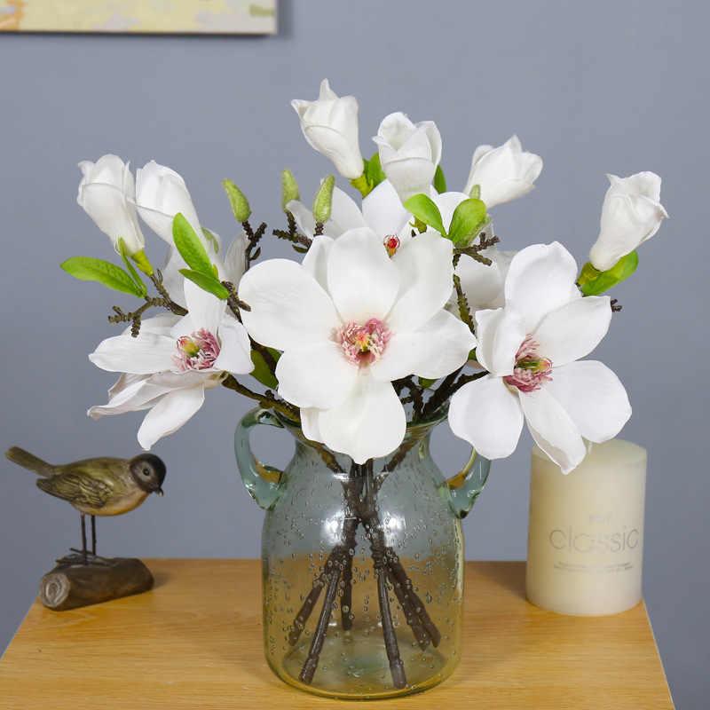 Vintage 2 Kepala Tunggal Magnolia Buatan Sutra Bunga Dekorasi Bunga untuk Rumah Baru Ruang Pesta HOTEL 7 Buah/BANYAK