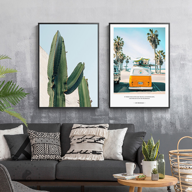 Us 2 24 30 Off American Style Summer Journey Beach Bus Cactus Canvas Paintings Posters And Prints For Living Room Bedroom Nordic Home Decor Hd In